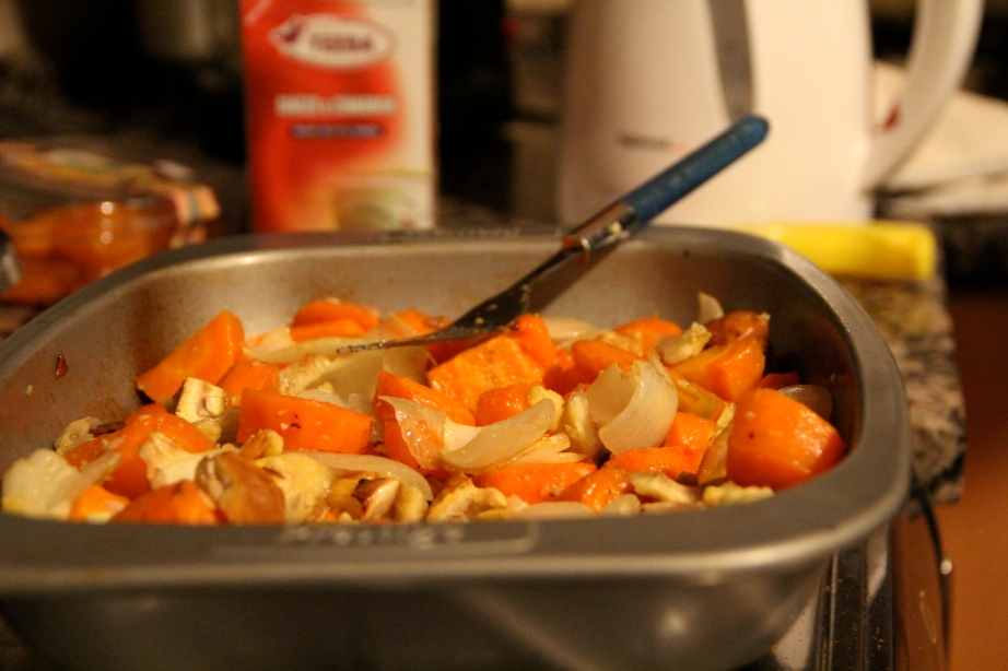 Pre-soup roasted veggies. Tackling that New Year's resolution.