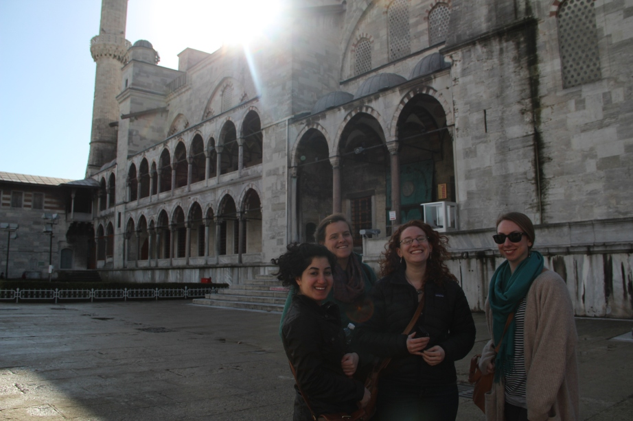 Beautiful friends outside the beautiful blue mosque.