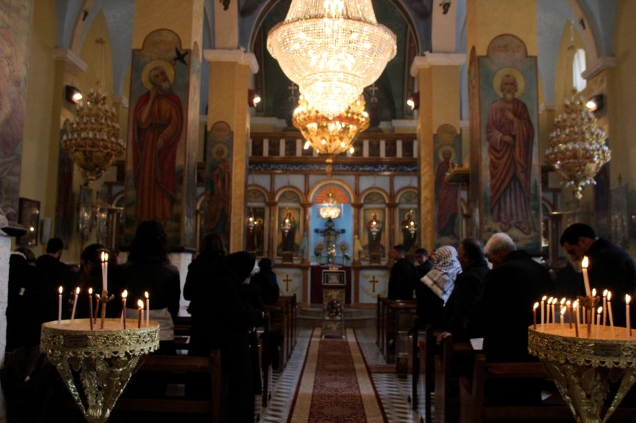 Greek Orthodox mass, just outside of Ramallah.
