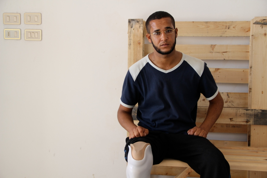 Farhan, 26, lost his leg in an explosion in Daraa, Syria. Here he is with his new leg, courtesy of SwissLeg, a startup that provides prosthetic legs for amputees in the developing world.