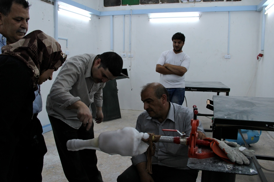 The process of making prostheses in Irbid, Jordan.
