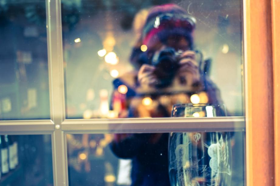 Windowpane selfie.