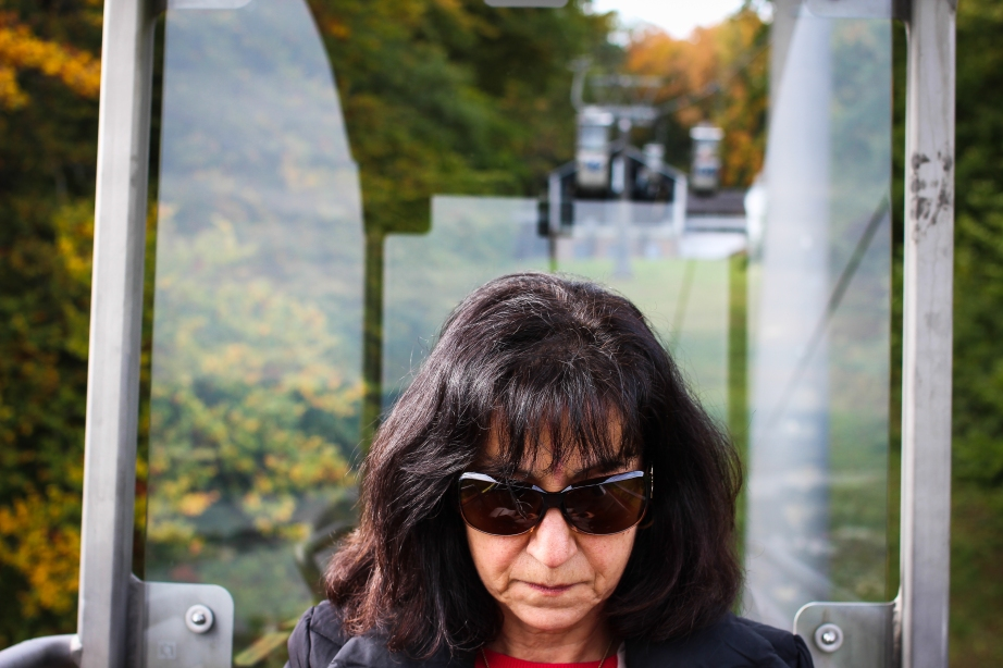 Freaking out on the teleferique. (This is my mother).