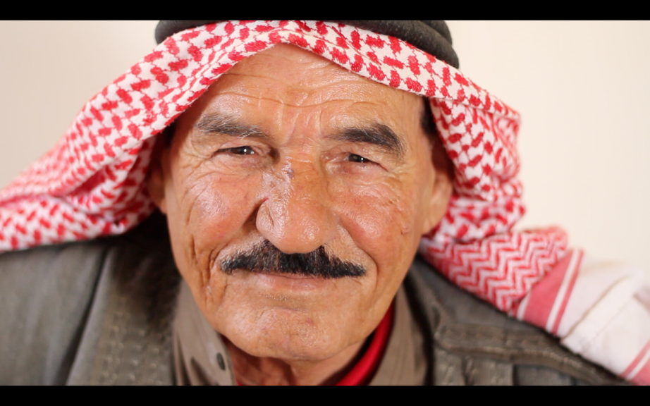 Screen grab: video editing some testimonies from Zaatari camp. This is 70-year-old Ahmad.